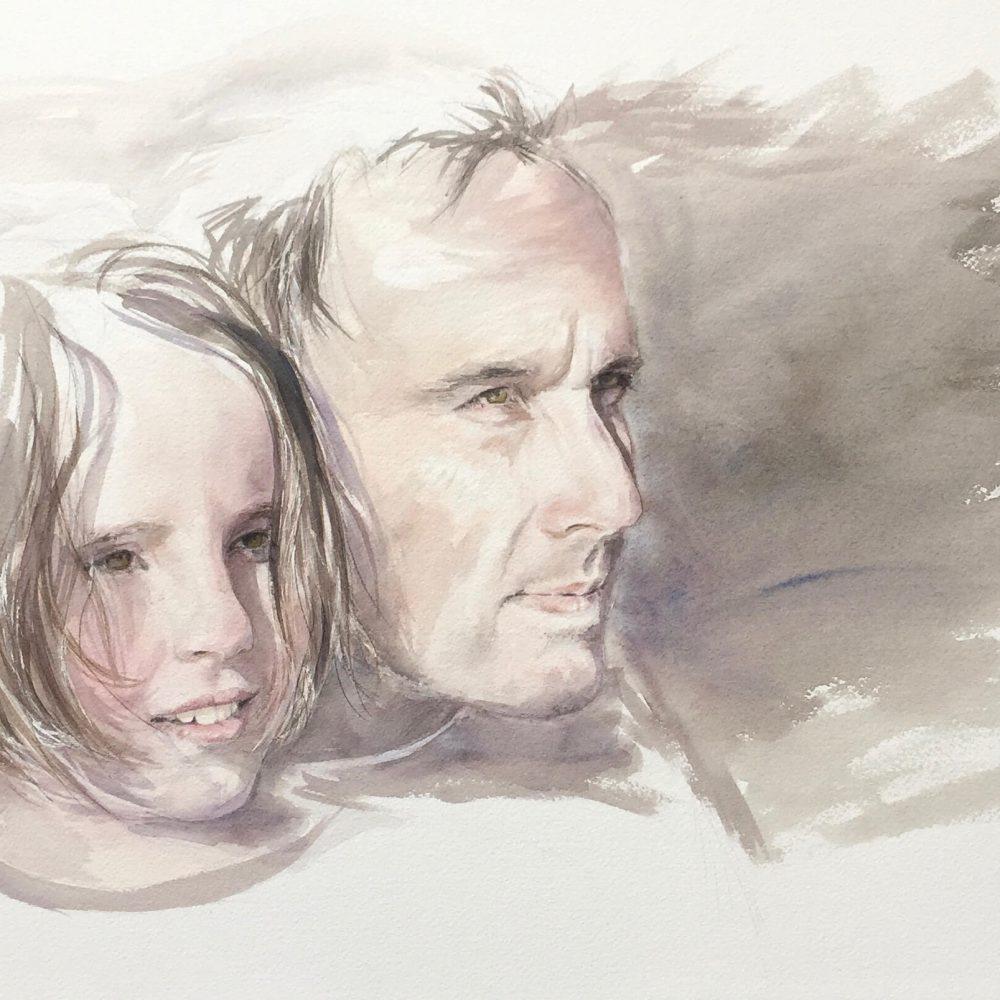 mdmrobert-padre-hija-retrato-acuarela-portrait-watercolour
